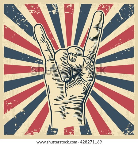 Rock and Roll hand sign. Vintage vector engraving illustration for info graphic, poster, web.