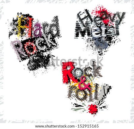 Rock and Roll, hard rock and heavy metal, set, vector illustration