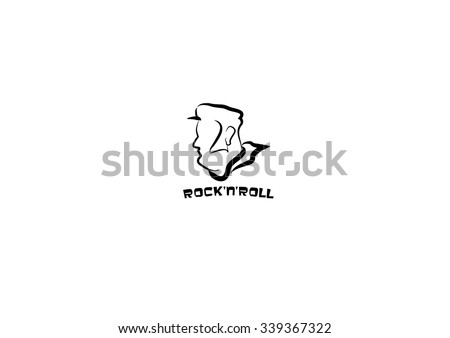 rock and roll icon logo in