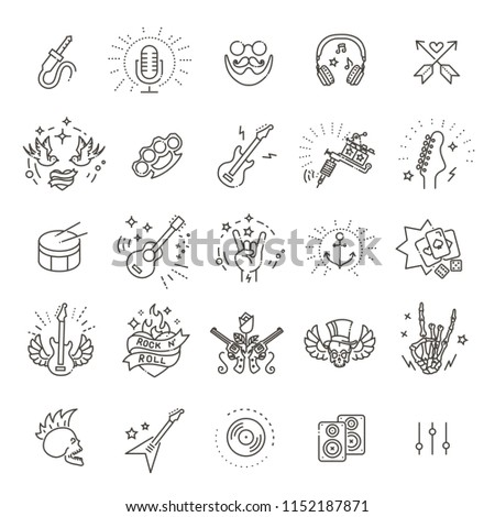 Rock and Roll line icon set