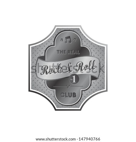 rock and roll metallic silver music label template