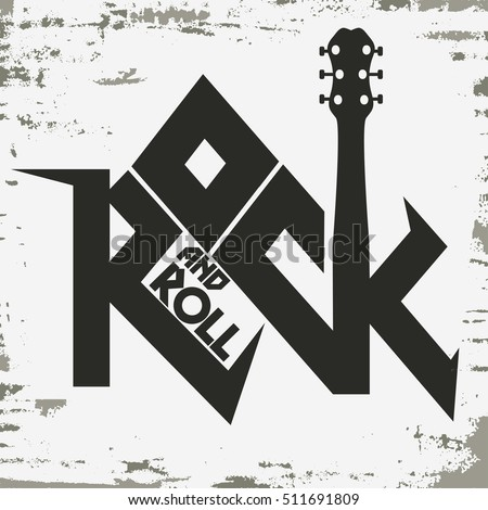 Rock and roll music grunge print, vintage label, rock-music tee print stamp, vector graphic design. t-shirt print lettering artwork