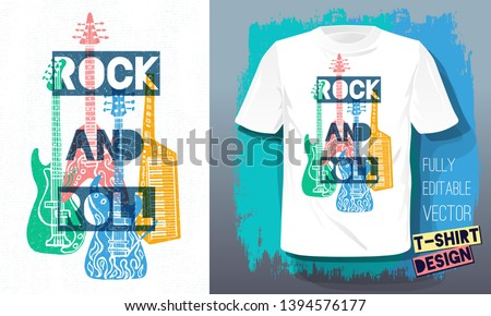 0a445435 abstract musical background with silhouette vector illustration. Rock and  Roll music lettering slogan retro sketch style electric guitar, bass  guitar, piano
