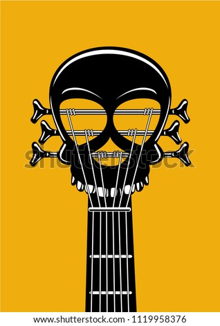 Rock and roll music poster. Guitar riff with skull. Heavy metal lable, tattoo style vector illustration. Stock foto ©