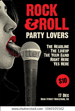 Rock and Roll Party Poster Flyer Template