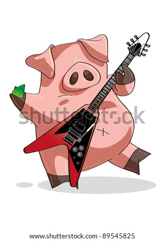 rock and roll pig playing a
