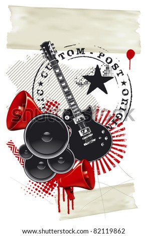 rock and roll poster - stock vector
