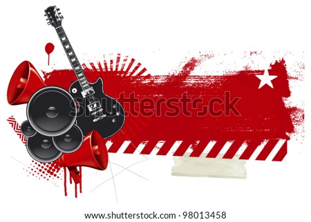 rock and roll poster with grunge red banner