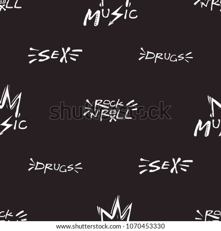 rock and roll seamless pattern