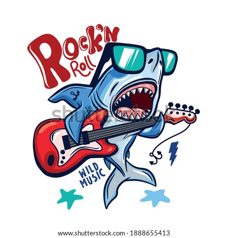 Rock and roll.Shark playing guitar vector print.Shark character design.Vector illustration design for fashion fabrics, textile graphics, print. Foto d'archivio ©