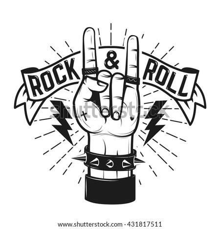 rock and roll sign human hand