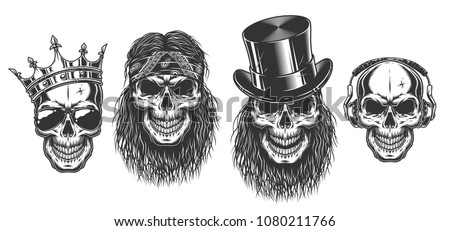 Rock and roll skull set. Vector illustration