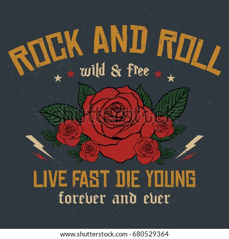Rock and Roll slogan fashion patch, rose with leaves, fashion patches, badges, live fast die young slogan typography, t-shirt graphics, vectors