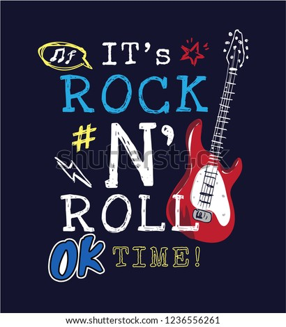 rock and roll slogan with icons