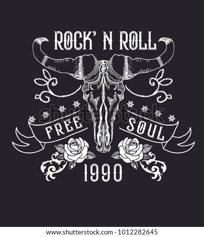 Rock and roll tattoo. Bull skull, roses. Symbol of hard rock, music, western, heavy metal. Rock t-shirt design