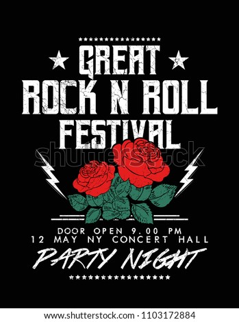Rock and Roll text with rose flower, fashion print for t shirt and other uses.