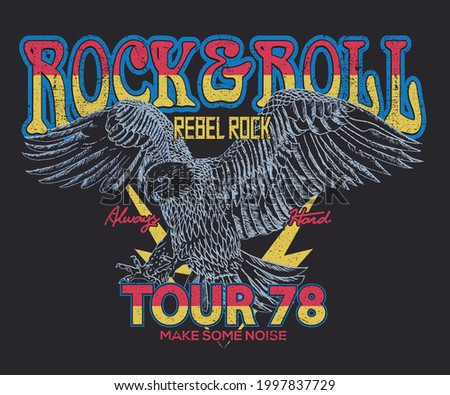 Rock and roll tour t shirt print design. Rockstar vector artwork. Rebel eagle graphic illustration. Music poster.