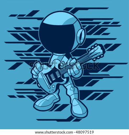 rock astronaut with a guitar
