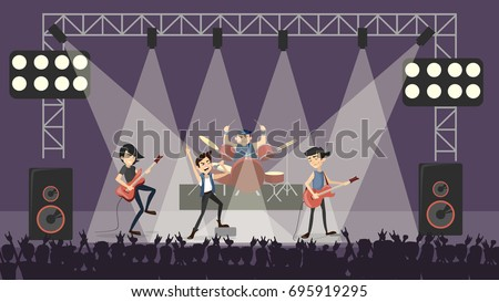 rock band at concert guys in