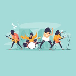Rock band, concert, performance, musicians play instruments and sing. Flat design vector illustration.
