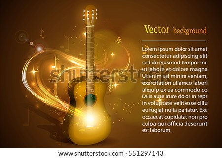 Rock band logo. Guitar in fire music vector sign.