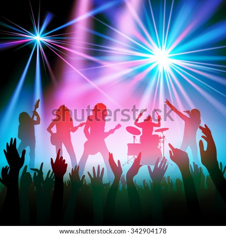 Rock band performing in front of a crowd. Vector illustration