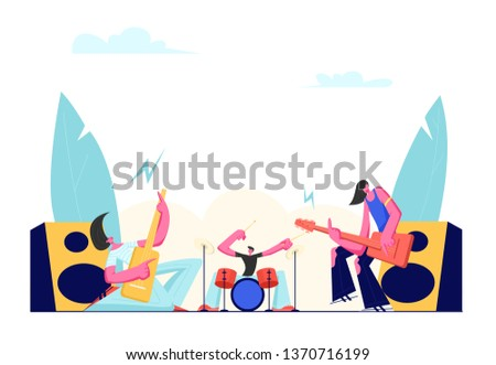Rock Band Performing on Stage. Electric Guitarists and Drummer Music Concert. Male Artists Playing an Guitar and Drums. Men in Rocking Outfit with Musical Instruments. Cartoon Flat Vector Illustration