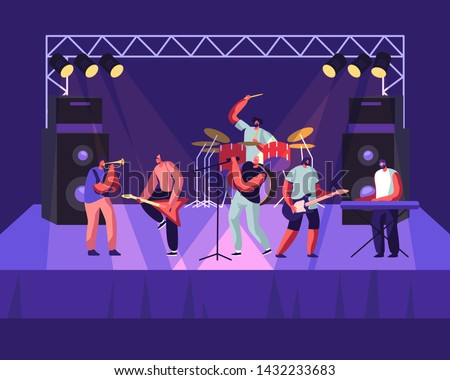 Rock Band Performing on Stage. Electric Guitarists, Drummer, Singer, Trumpeter Music Concert. Men Artists in Rocking Outfit Playing with Musical Instruments, Show. Cartoon Flat Vector Illustration
