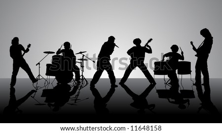 Rock band. Silhouettes of six musicians. Vector illustration. - stock vector