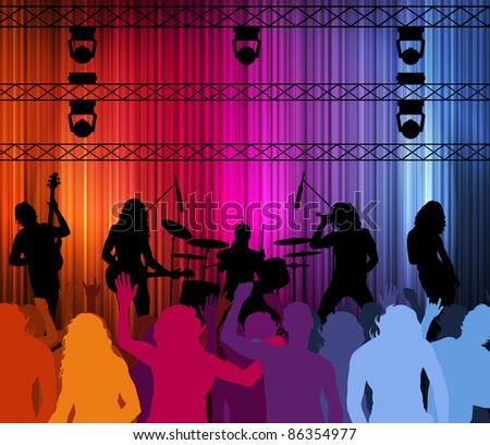Rock band vector background with neon lights and people