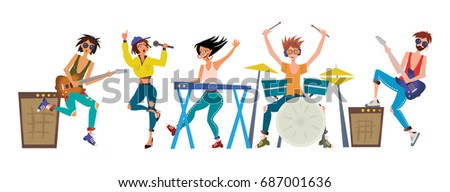 Rock band. Young men and women play musical instruments. Guitarists, keyboardist, drummer and singer. Vector illustration, isolated on white background. #687001636