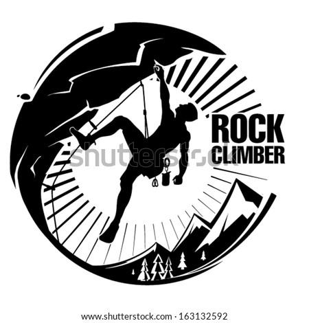 rock climber at sunset vector