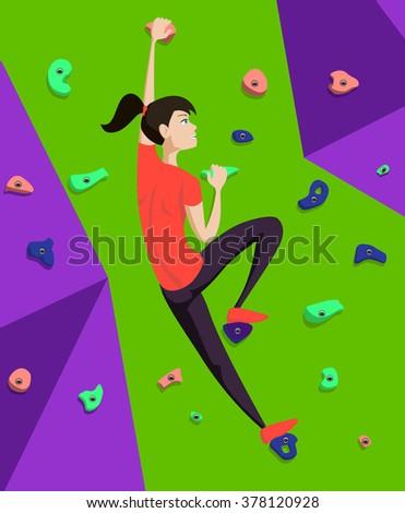 rock climber girl climbs to the