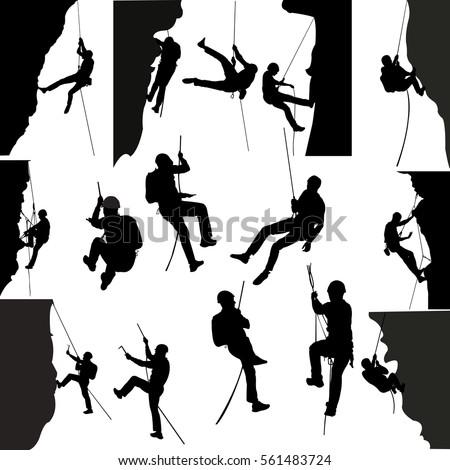 rock climbers silhouette