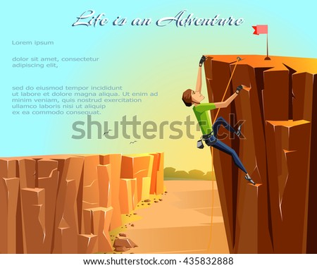 Rock Climbing boy. Beautiful nature landscape background. Bouldering sport. Graphic Design. Vector Illustration
