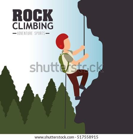 rock climbing man emblem graphic