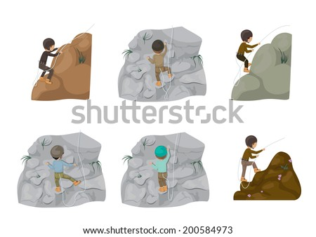 rock climbing people   isolated