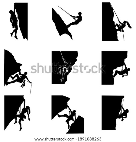 Rock climbing silhouette man and woman, climb to mountain with rope. Climbing vector sport, outdoor extreme activity. Active rest mountaineering and climbing illustration