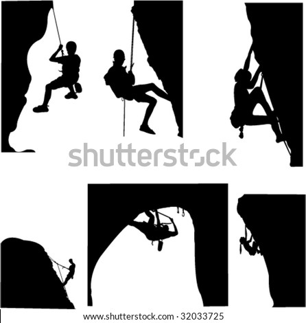stock vector rock climbing vector