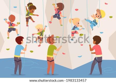 rock climbing wall boys and