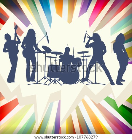 Rock concert band silhouettes burst background illustration vector