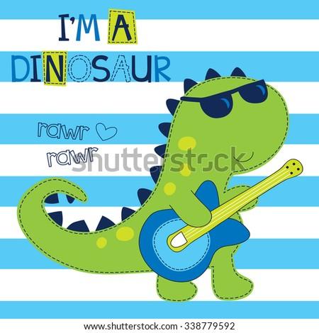 rock dinosaur with guitar