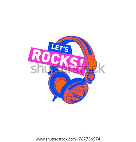rock dj colorful logo and icon