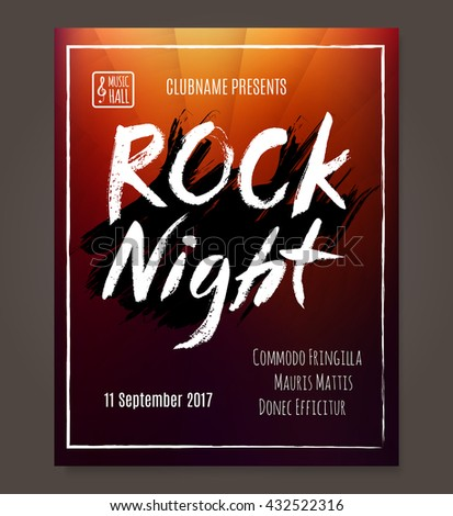 Rock event poster or flyer template. Vector illustration | EZ Canvas