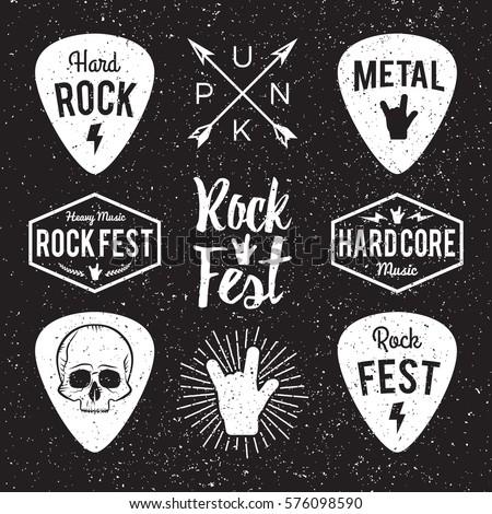 Rock fest badge/Label grunge vector set. For band signage, prints and stamps. Black festival hipster logo with guitars, skull and hand