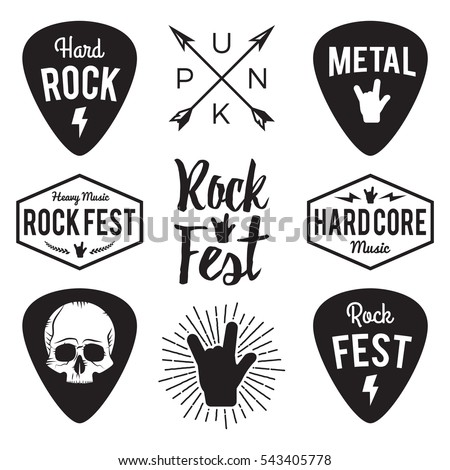 rock fest badge label vector