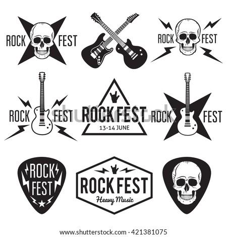 rock fest music badge label