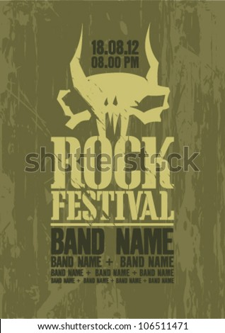 Rock festival design template with cow skull and place for text.
