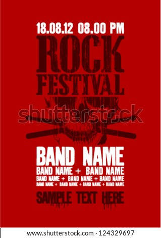 Rock festival design template with skull and place for text.