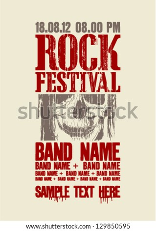 Rock festival design with skull and place for text.